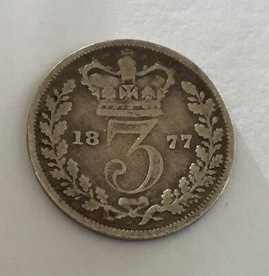 Great Britain 1877 Silver 3 Pence Better Date