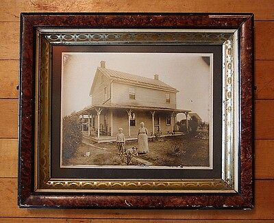Antique Vtg Photo House Yard Porch Dog Boy Woman 1800s Frame Instant Relatives