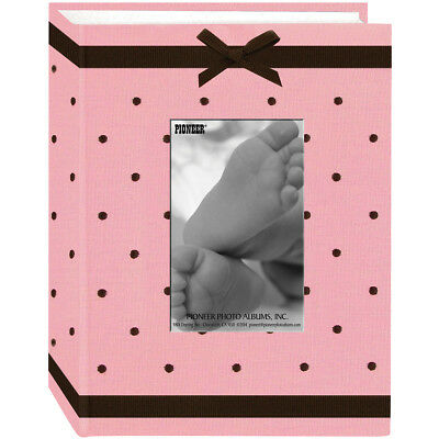 "Pioneer BEM100-P  Baby Dot Fabric Frame Photo Album 4""X6""  -Pink/Brown"