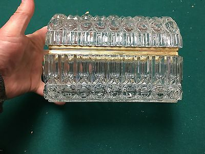LARGE Antique Hand Cut Crystal Box Casket Hinged Lid Ormolu