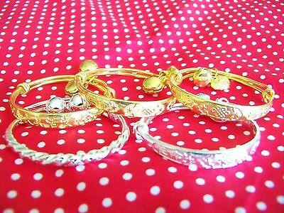 Pair Adjustable Silver Gold Baby Bangle Bracelet With Bells Christening/birthday