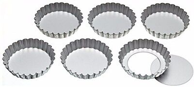 KitchenCraft Stainless Steel Fluted Tartlet Tins with Loose Bases 10 cm Set of 6