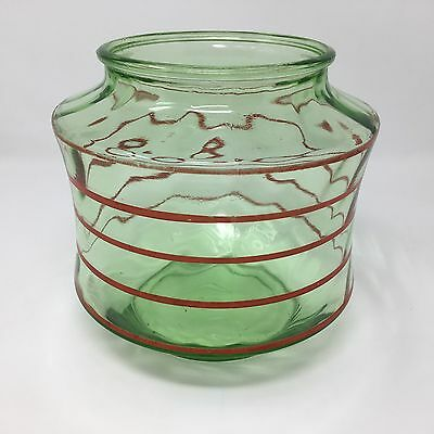 Antique Green Glass Jar Canister Kitchen Apothecary Red Stripe UNUSUAL VTG