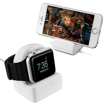 Apple Watch Stand Charger Station Series Night Stand Mode Cable Management White