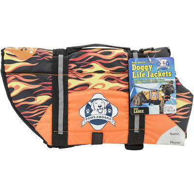 Fido Pet Products Paws Aboard Doggy Life Jacket Large-Racing Flames