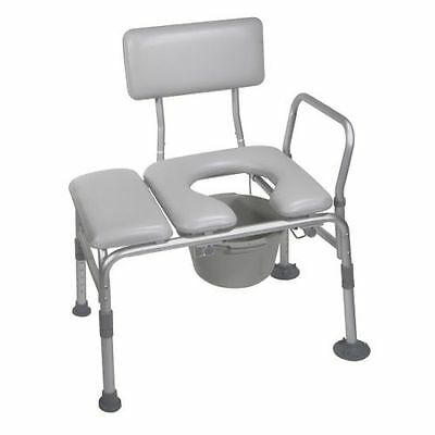 Drive Medical 12005KDC-1 Combination Padded Tub Transfer Bench Commode 400lb MAX