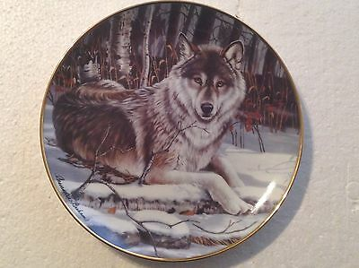 Collectable Wolf Plate 8 1/4 Inches - Eyes Of Midnight - Franklin Mint