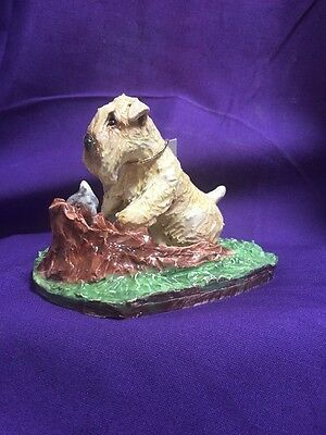 soft coated wheaten terrier Hand Sculpted ,Painted Kiln Fired Bunny HuntBy Darci