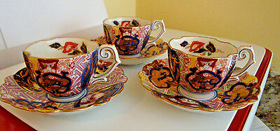 3 Vintage Kutani China Kosen Tea/Demitasse Cups and Saucers Japan Ornate