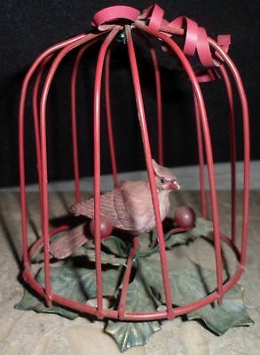 Vintage Collectible Miniature Red Metal Birds Cage Figurine Cardinal Dollhouse