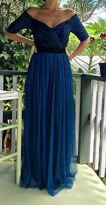 Navy Blue Mother Of The Bride Formal Occasion Tulle Lace Long Dress Gown NWT
