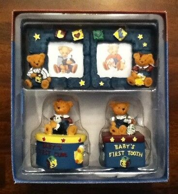 Blue Jean Teddy Keepsake Gift Set, Baby's First Curl, tooth & picture frame