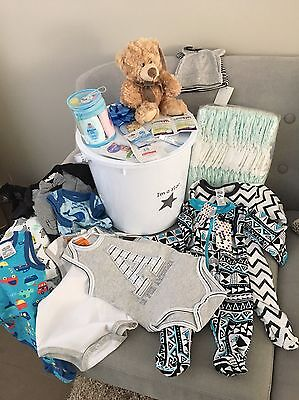 Newborn Boy Gift Pack Clothes Nappies Samples Huggies Pumpkin Patch Curash Avent