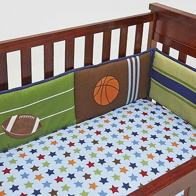 Little Bedding by NoJo 4-Piece Secure-Me Crib Bumper - High-Five Sport - New
