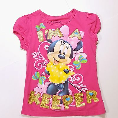 Disney Girl's Minnie Mouse Pink with Gold Glitter T-Shirt Top (Size Medium 7-8)