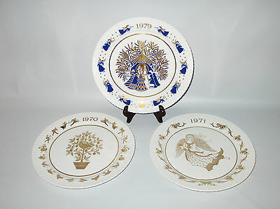 Spode 3 Christmas Plates 1970s Limited Series 1st 2nd 10th Bone China Gold