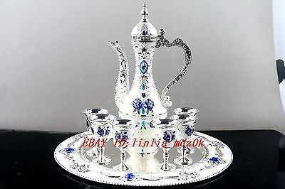 Collectible Decorated tibet Silver Carved Flower TeaPot Cup Plate Set N2