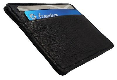 Men's Genuine Leather Front Pocket Slim Thin ID Credit Card Money Holder Wallet