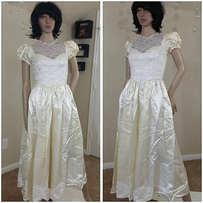 vintage ivory lace and satin  handmade wedding dress wedding gown