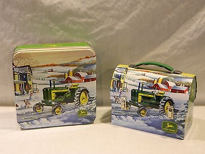New John Deere Tractor Round Top Tin Lunch Box & Tin Set