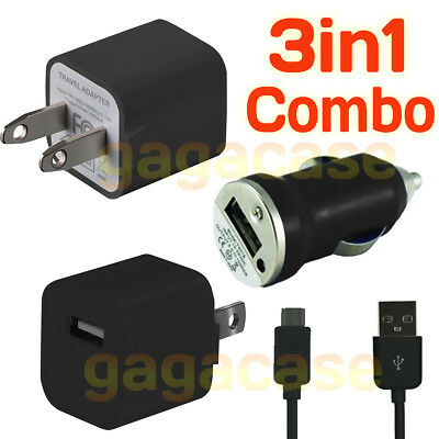 BK 3In1 Car Charger,Power Adapter &USB Cable Samsung Galaxy S3 S4 S5 S6 S7 edge