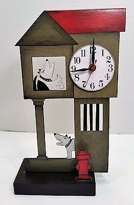 Acme Animal Dog House Clock Sculpture Whimsical Quirky Folk Art Hand Crafted