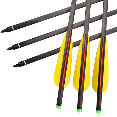12X Crossbow Bolts 16 inch Hybrid Carbon Archery Arrows Hunting Points 125 Grain