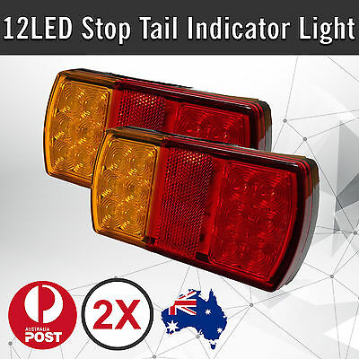 2 x 12 LED Trailer Lights Tail Stop Indicator Lamp Truck Trailer 12V
