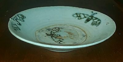 Antique Chinese Swatow Porcelain Bowl - 17.4cm - Blue and White - Moths