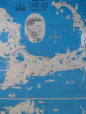VINTAGE 1964 JOHN F. KENNEDY PICTORIAL CAPE COD MAP by ERNEST CHASE