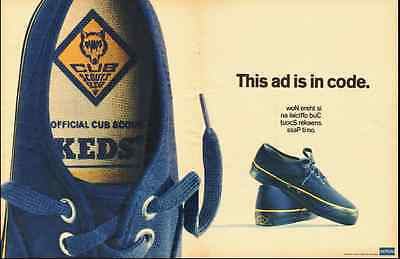 1968 vintage ad, BLUE KEDS SHOES for CUB SCOUTS, 'This ad is in code' -102712