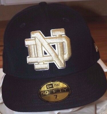 d4218abea61 New Era 59Fifty Notre Dame Fighting Irish Fitted Hat Navy Gold Size 7 1 2