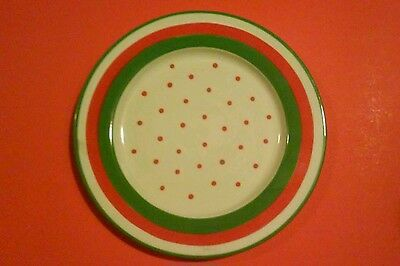 "10"" Plate, Celebrations, Lillian Vernon, Red Polka Dot, White,Red,Green Bands"