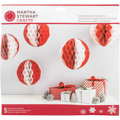 Martha Stewart M4830422 Honeycomb Balls 5/Pkg-Red & White