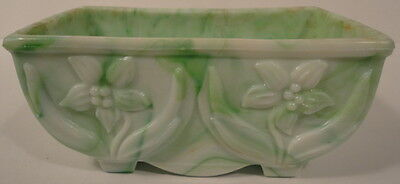 Akro Agate Green Marblezed Slag Glass #657 Lily Flower Planter c.1940's