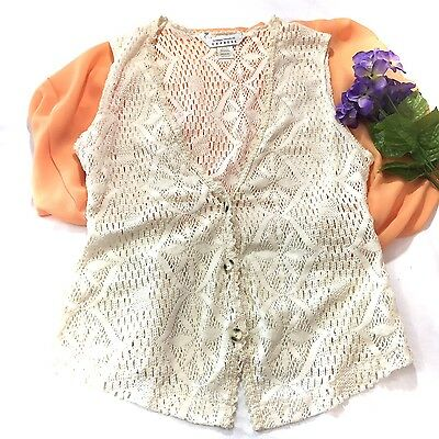 Vintage Women's Vest Size Medium Compagnie International Express 1990's Crochet