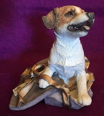 Jack Russell In Present Dog Figurine Numbered 3 1/4 in high