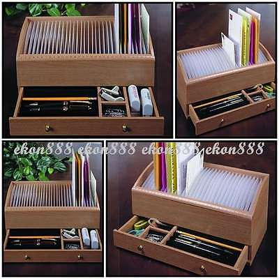 31 Day Slots Letter Bill Drawer Pens Date Sorter Mail Organizer Box Natural Wood