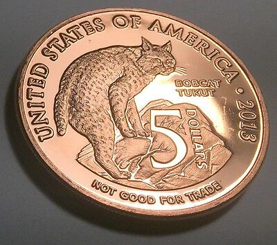 UNITED STATES BOBCAT / COYOTE PURE COPPER BULLION ONE OUNCE (1oz) ROUND (COIN)