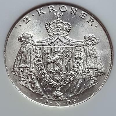 Norway 1906 Silver 2 Kroner Independence from Sweden KM# 363 MS 64 NGC GEM BU
