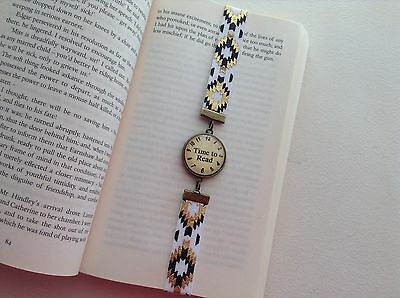 Bookmark Thong Gold & White Stretch Elastic Glass Cabochon Word Design Setting