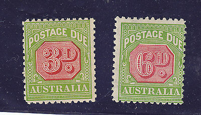 3d & 6d Postage Due stamps- both C of A watermark , perf 11 MH- Please see scans