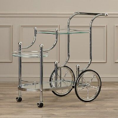 Serving Cart Home Furnishings Wheels Rolling Chrome Glass Bar Metal Kitchen Tea