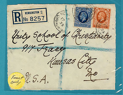 """1935 Registered Cover to USA """"Front Only"""""""