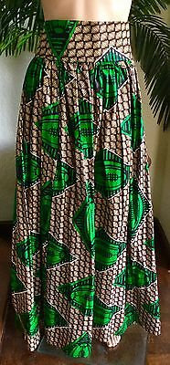 Lady Mia's of Africa Women's African  SKIRT Long XL GREEN 100% Cotton Wax NWT