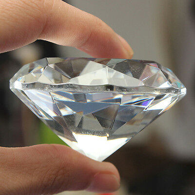 30/40/50/60/80mm Crystal Paperweight Cut Glass Giant Diamond Jewelry Decor