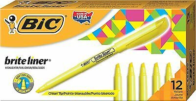 12 Pack Yellow Highlighter BIC Fluorescent Non Toxic Chisel Tip Office Supply