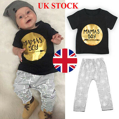 2pcs Newborn Infant Baby Boys MAMAS BOY Outfit Top T shirt Tee + Pant Clothes UK