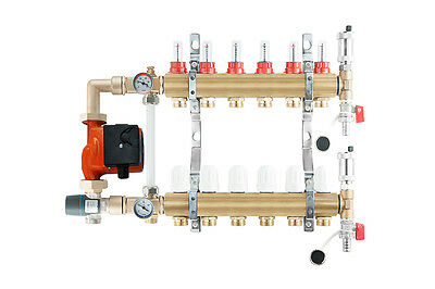 Underfloor heating brass complete manifold 7 port +pump/mixer group afriso esbe
