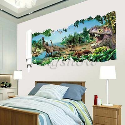 3D View Dinosaur Kids Room Decor Jurassic Park Wall Sticker Decal Mural PVC Art